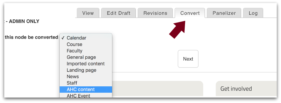 Convert content types screenshot