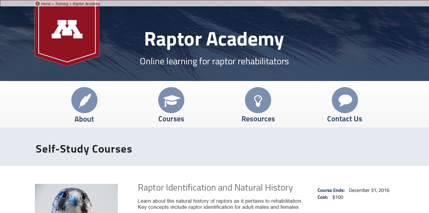Raptor Center website using FontAwesome