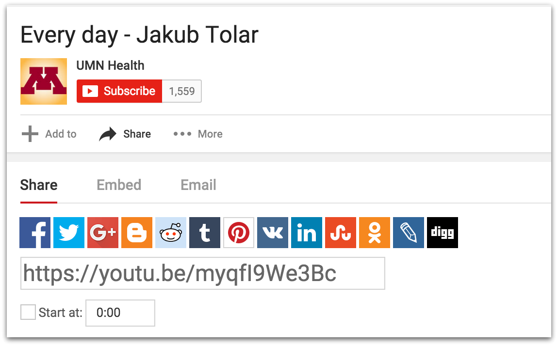 YouTube share video dialog box