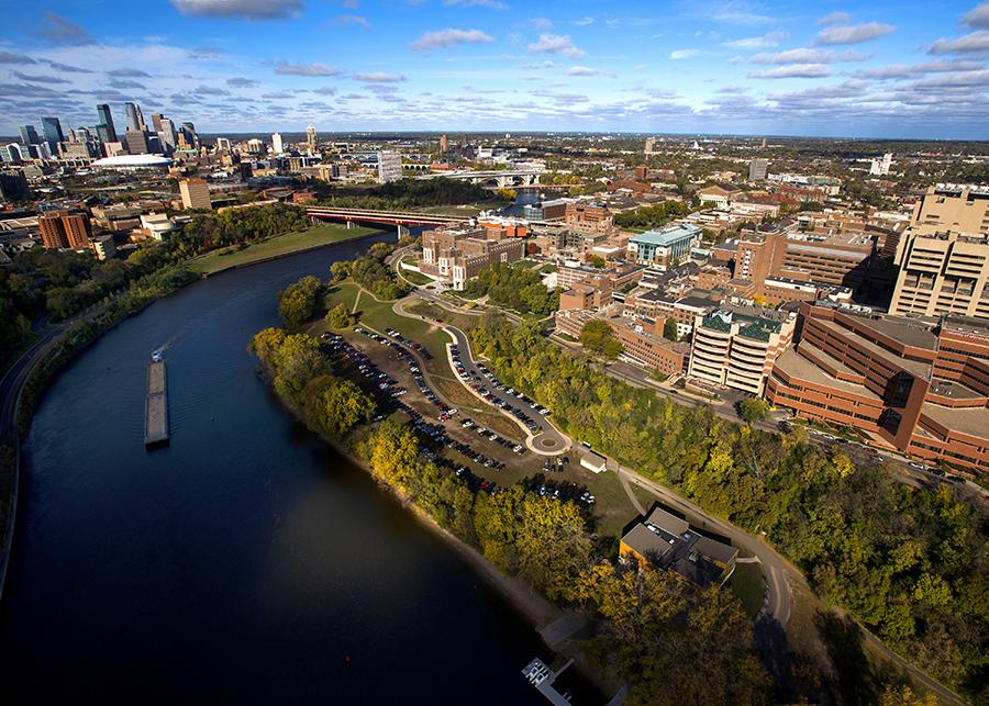 Aerial view of the University of Minnesota campus and downtown Minneapolis overlooking the Mississippi River