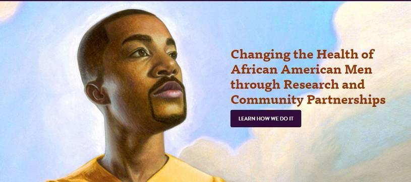 African American man illustration with text Changing the Health of African American Men through Research and Community Partnerships
